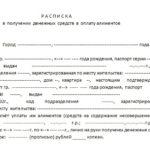 Расписка о получении денежных средств в уплату алиментов
